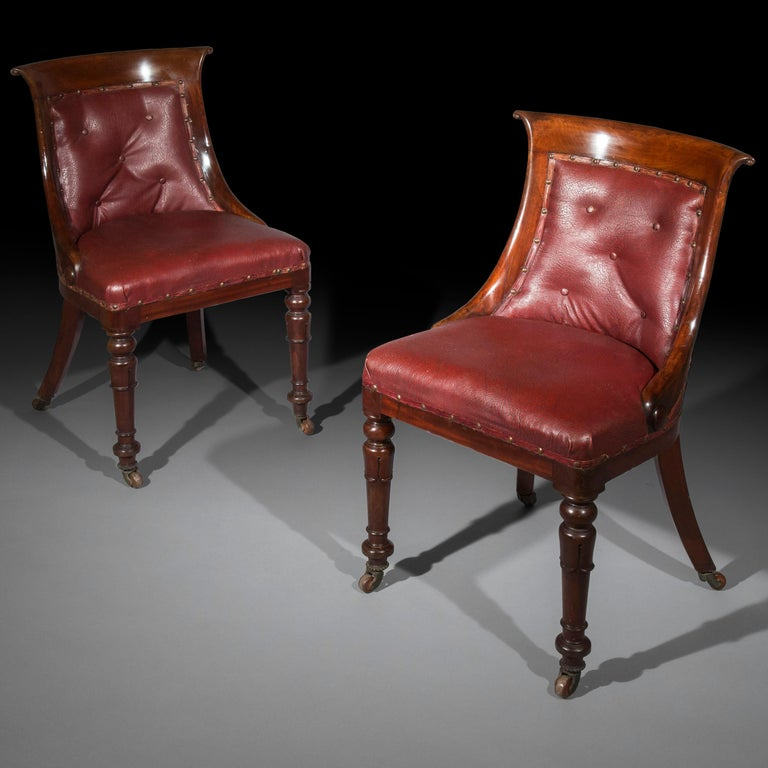 A rare set of six generously proportioned 'Gondola' dining chairs, in the style of Gillows of Lancaster and London Eight chairs available in total in sets or pairs.  England, circa 1825.  Why we like them One of the most comfortable models of