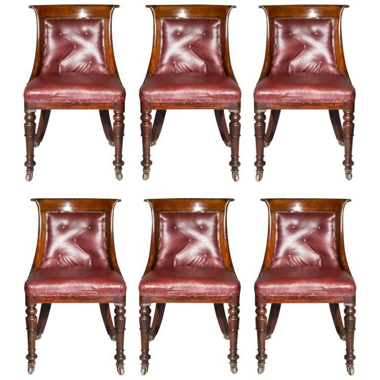 Set of Six Regency Dining Tub Chairs  For Sale