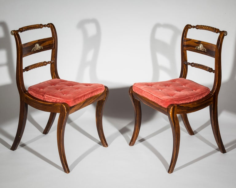 Wood Set of Six Regency Painted Klismos Dining Chairs For Sale