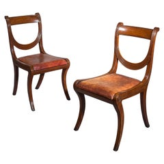 Set of Six Regency Mahogany Klismos Dining Chairs Attributed to Gillows