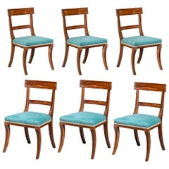 Set of Six Regency Mahogany Klismos Dining Chairs, Attributed to Gillows