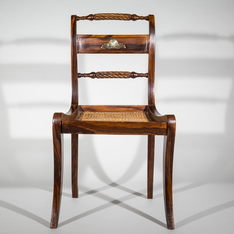 Set of Six Regency Painted Klismos Chairs For Sale 3