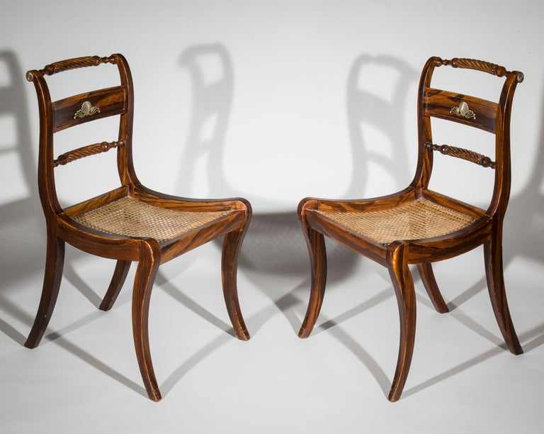 Hand-Painted Set of Six Regency Painted Klismos Chairs For Sale