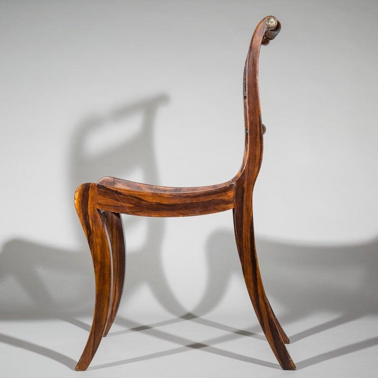 Wood Set of Six Regency Painted Klismos Chairs For Sale
