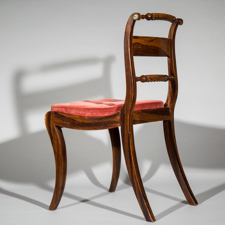 Set of Six Regency Painted Klismos Chairs For Sale 2