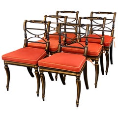 Set of Six Regency Parcel-Gilt Rosewood-Grained Caned Side Chairs, circa 1810