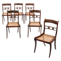 Set Six 19th Century Regency Simulated Rosewood and Brass Inlaid Dining Chairs
