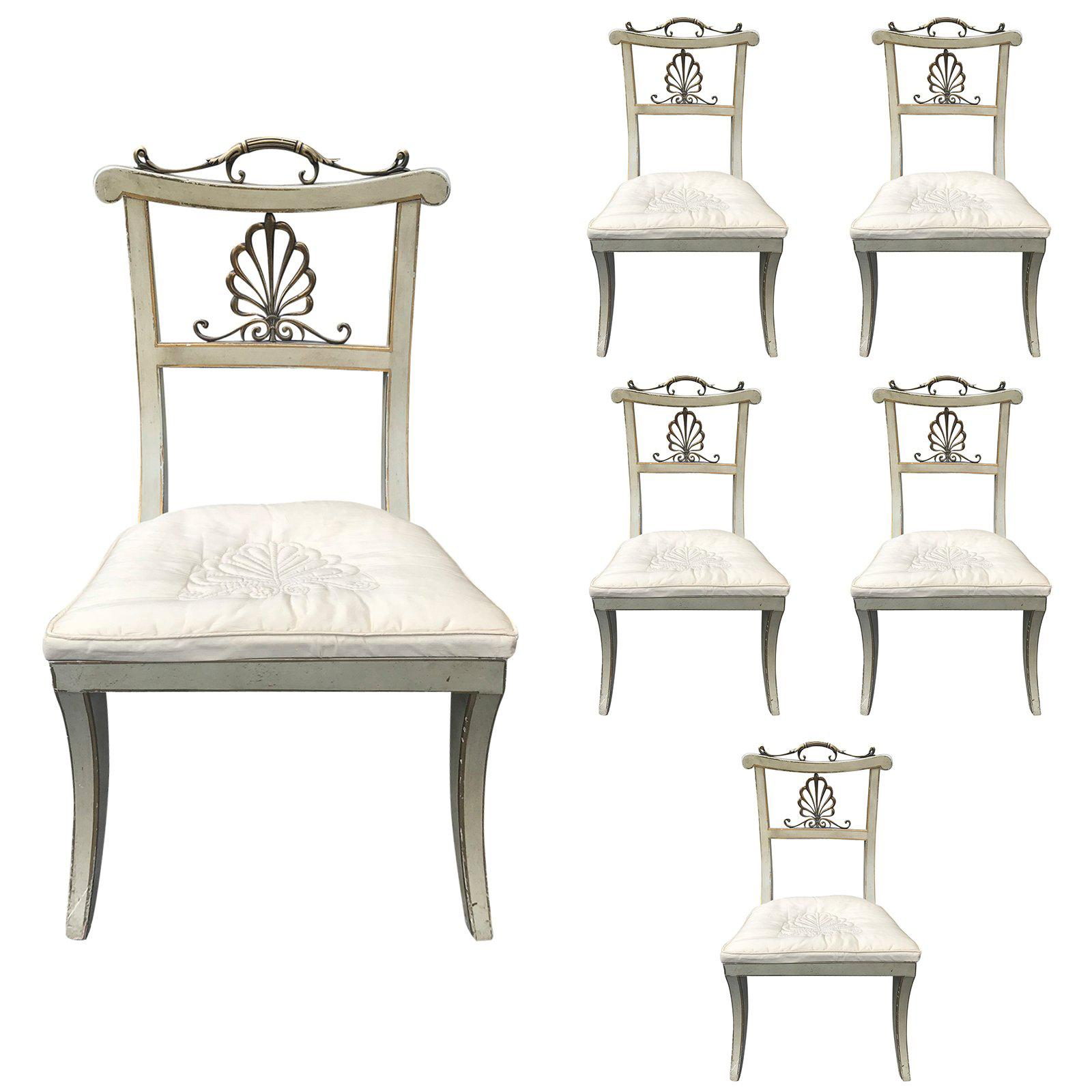 Set of Six Regency Style Painted and Bronze Dining Chairs