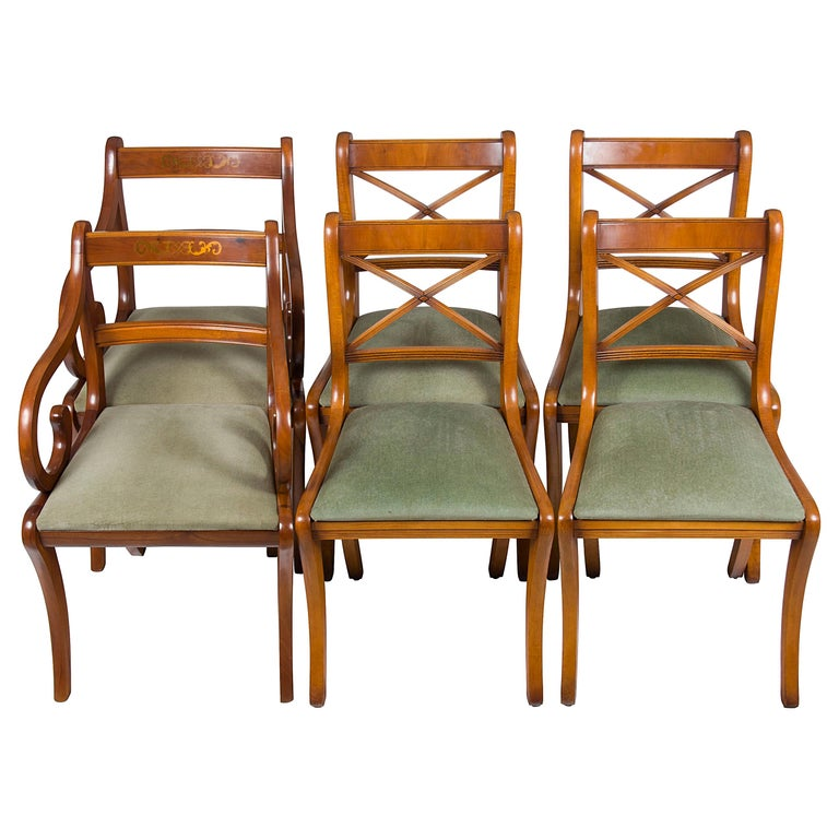 yew dining room furniture | Set of Six Regency Style Yew Wood Dining Room Chairs For ...