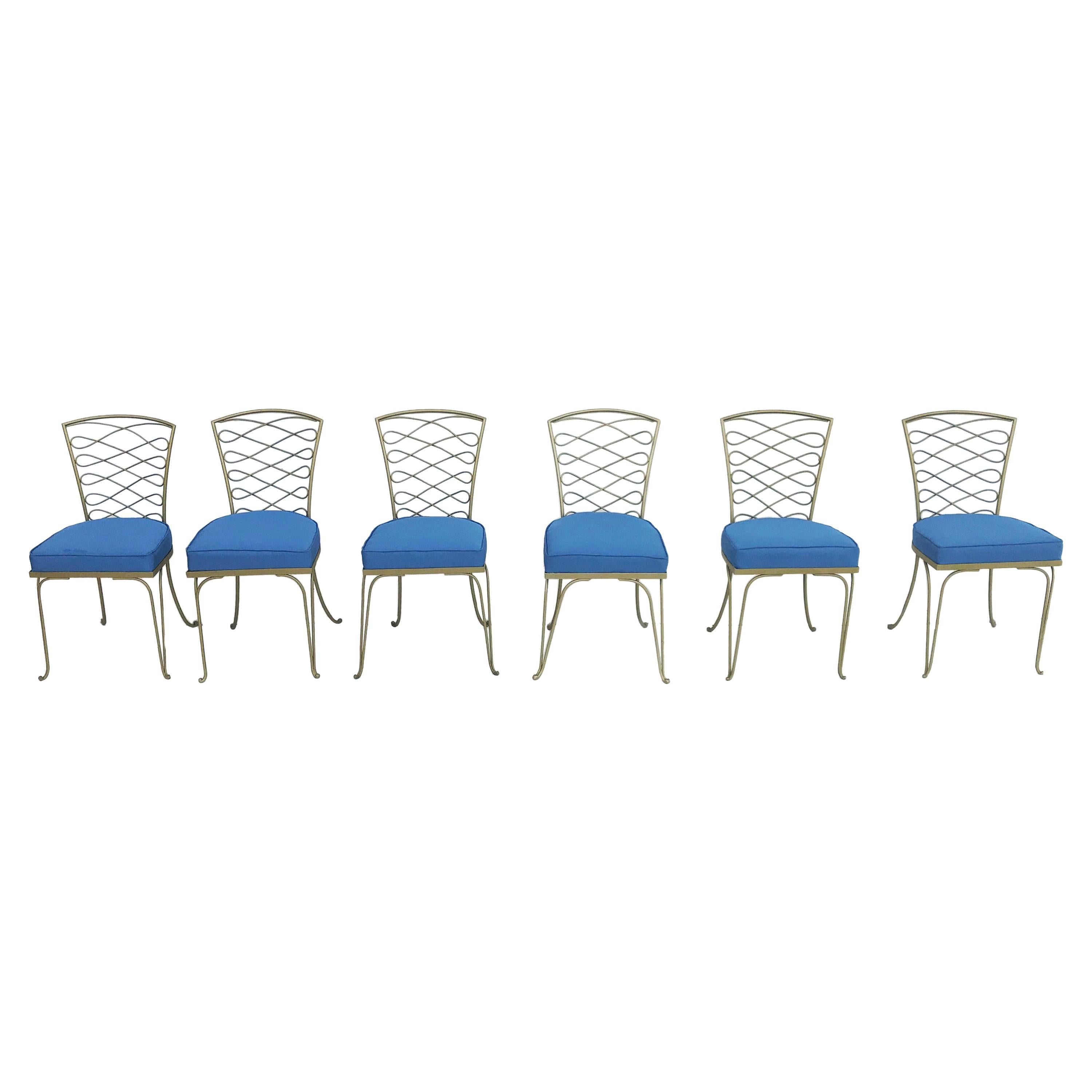 Set of Six Rene Prou Art Deco Wrought Iron Dining Room Chairs Blue Fabric Seats