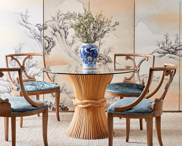 Fabulous set of six neoclassical style dining chairs by Renzo Rutili for Johnson Furniture Co. Elegant klismos style profile with a square back and an x form backsplat. Newly upholstered in an elegant aquamarine velvet upholstery with a double welt