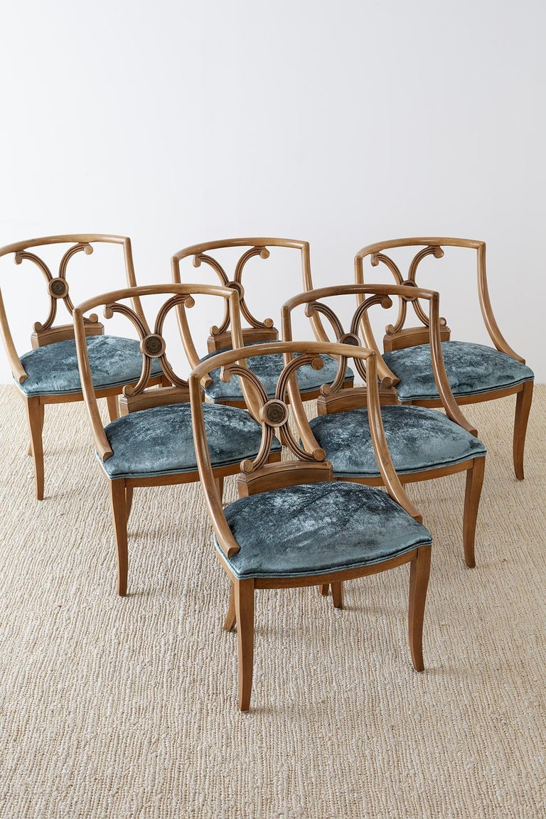 American Set of Six Renzo Rutili Neoclassical Dining Chairs For Sale