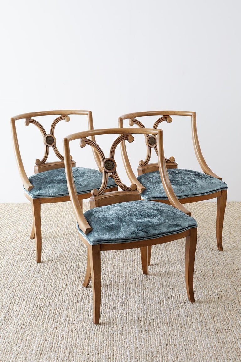 Hand-Crafted Set of Six Renzo Rutili Neoclassical Dining Chairs For Sale