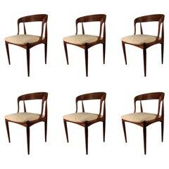 Set of Six Restored Johannes Andersen Dining Chairs in Teak Custom Upholstery