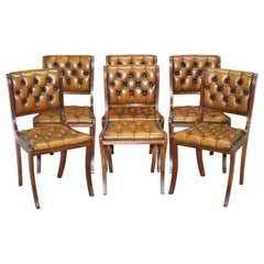 Set of Six Restored Vintage Chesterfield Mahogany Brown Leather Dining Chairs 6