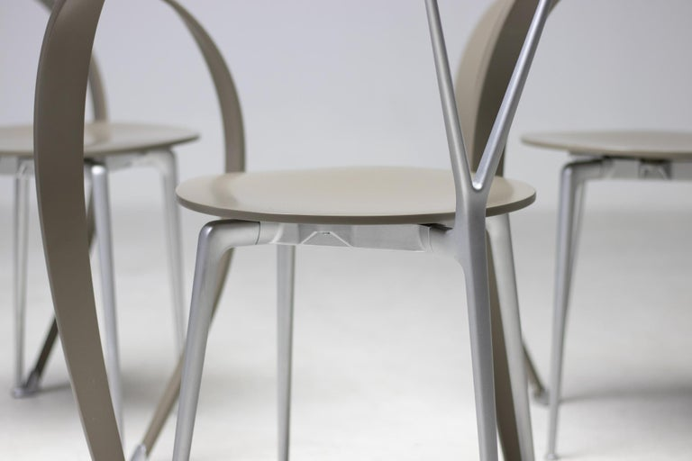 Painted Set of Six Revers Chairs by Andrea Branzi for Cassina