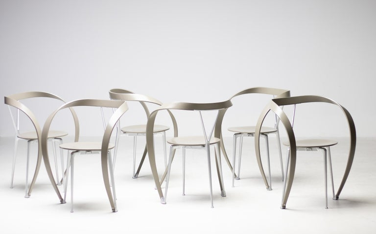 Set of Six Revers Chairs by Andrea Branzi for Cassina 1