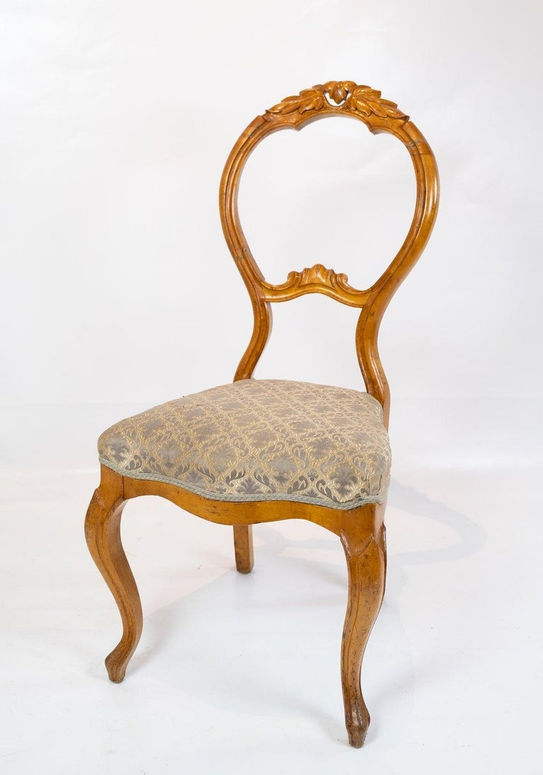 Danish Set of Six Rococo Dining Room Chairs of Light Mahogany, 1760s For Sale