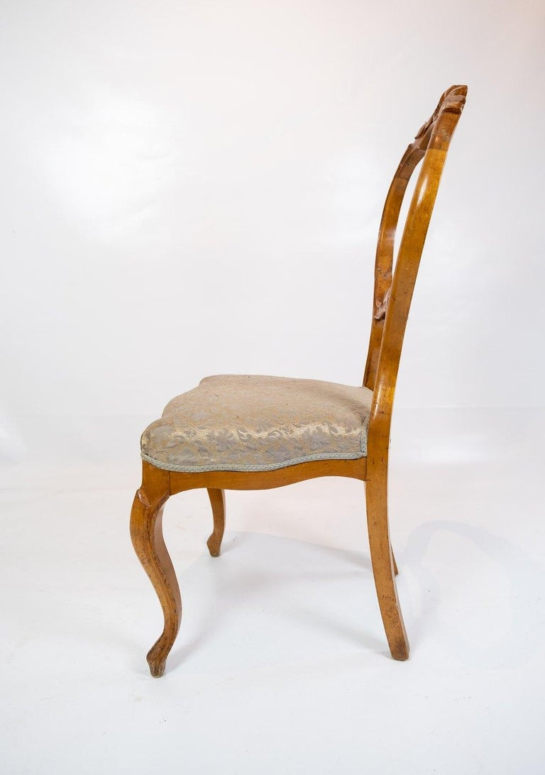 Set of Six Rococo Dining Room Chairs of Light Mahogany, 1760s In Good Condition For Sale In Lejre, DK
