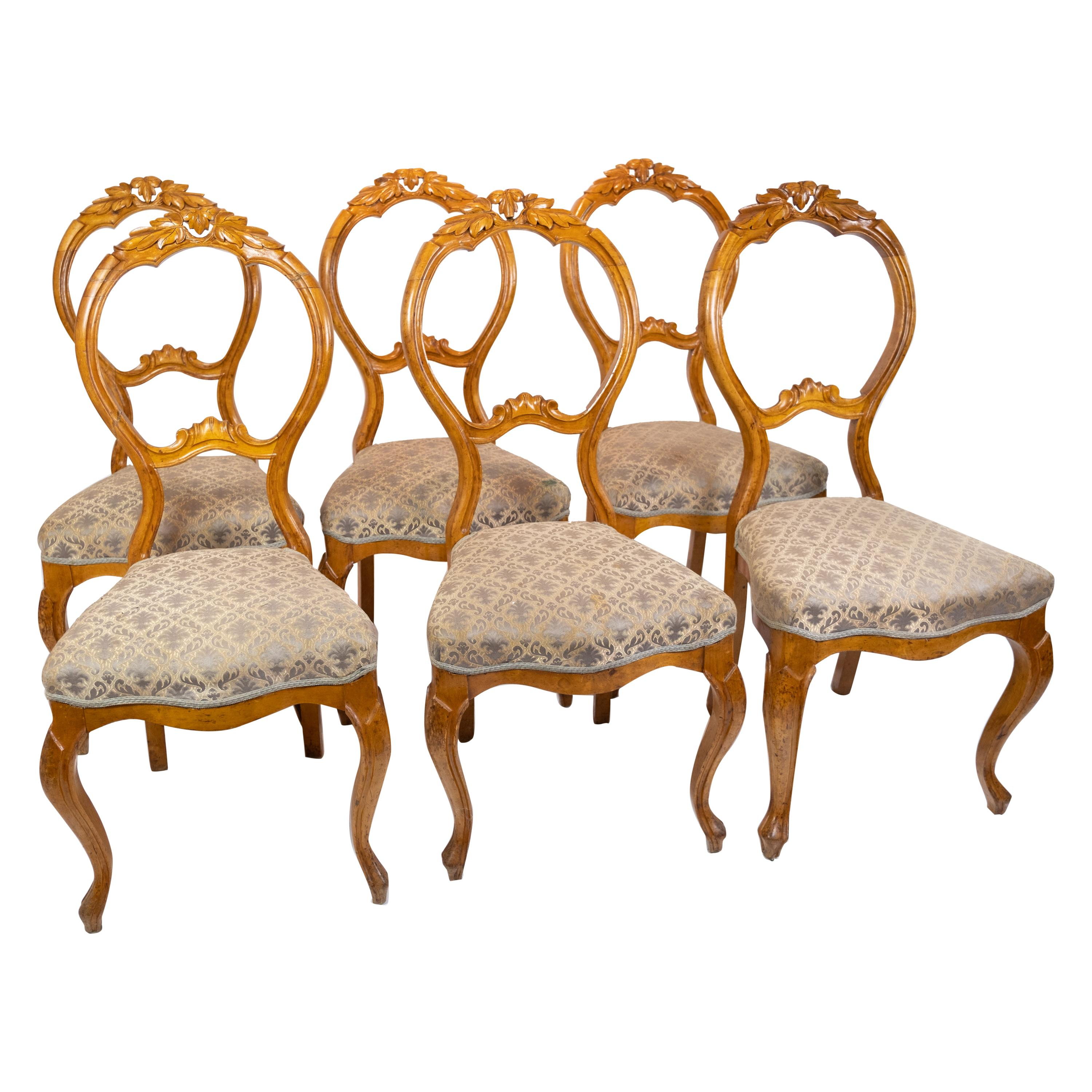 Set of Six Rococo Dining Room Chairs of Light Mahogany, 1760s