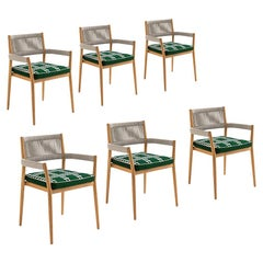 Set of Six Rodolfo Dordoni ''Dine Out' Outside Chairs, Teak, Rope and Fabric