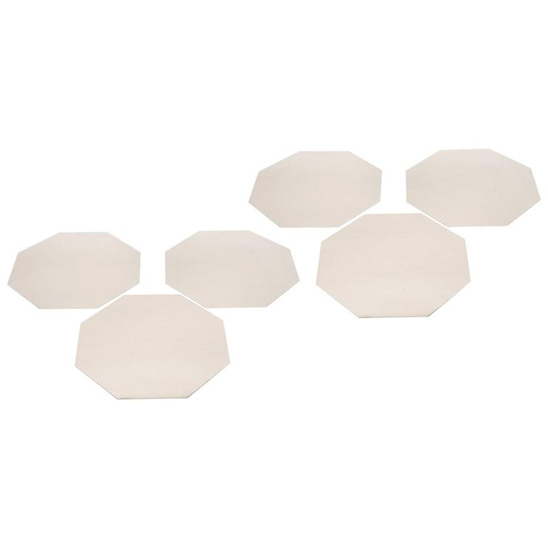 Set of Six Romeo Rega Stainless Steel Chargers or Placemats Signed For Sale