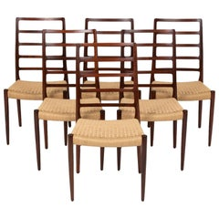 Set of Six Rosewood and Danish Cord Møller Ladderback Model 82 Dining Chairs