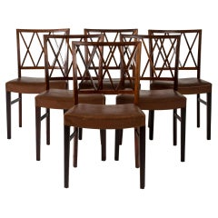 Set of Six Rosewood Armchairs by Ole Wanscher for Slagelse Møbelværk, Denmark