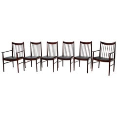 Set of Six Rosewood Dining Chairs by Arne Vodder for Sibast, Black Seats