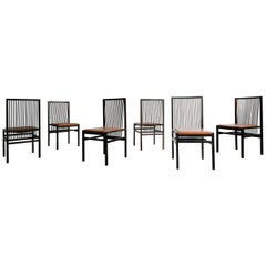 Set of Six Rosewood Estrutural Chairs by Joaquim Tenreiro. Mid Century, Brazil