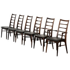 "Set of Six Rosewood ""Lis"" Dining Chairs by Niels Koefoed, 1960s"