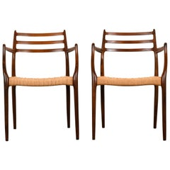 Set of Six Rosewood Model 78 Chairs by Niels O. Moller for J. L. Mollers