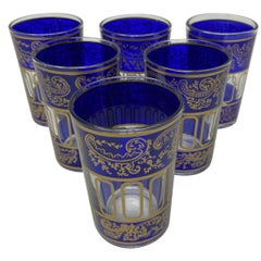 Set of Six Royal Blue Shot Glasses with Gold Raised Moorish Design