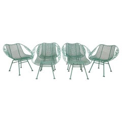 Set of Six Russell Woodard Sculptura Chantilly Rose Patio Armchairs, Circa 1950s