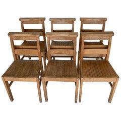 Set of Six Rustic English Hardwood Chapel Chairs