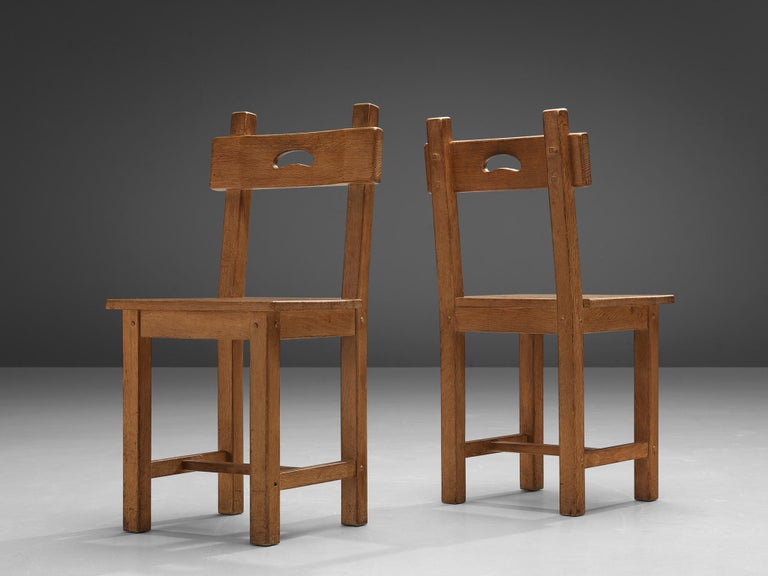 Set of Six Rustic French Dining Chairs in Oak For Sale 5