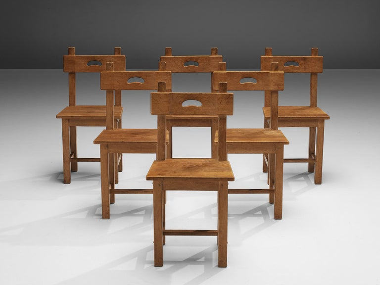 Set of Six Rustic French Dining Chairs in Oak In Good Condition For Sale In Waalwijk, NL