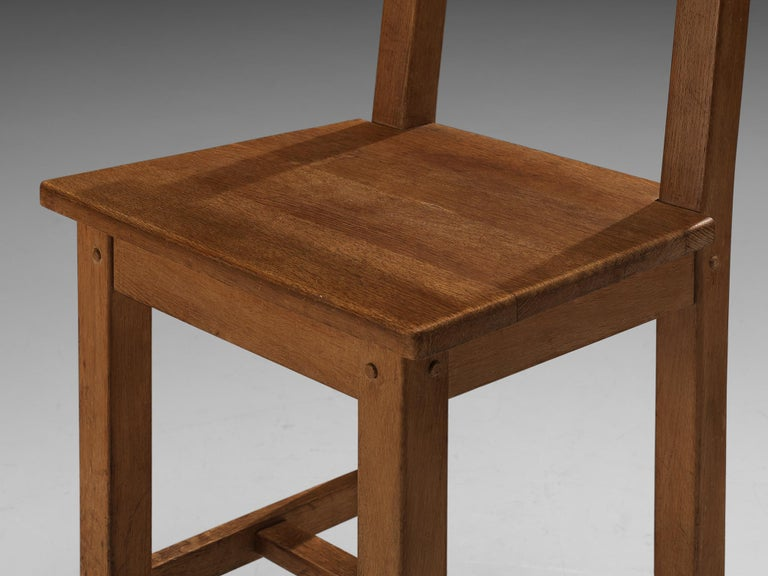 Set of Six Rustic French Dining Chairs in Oak For Sale 2