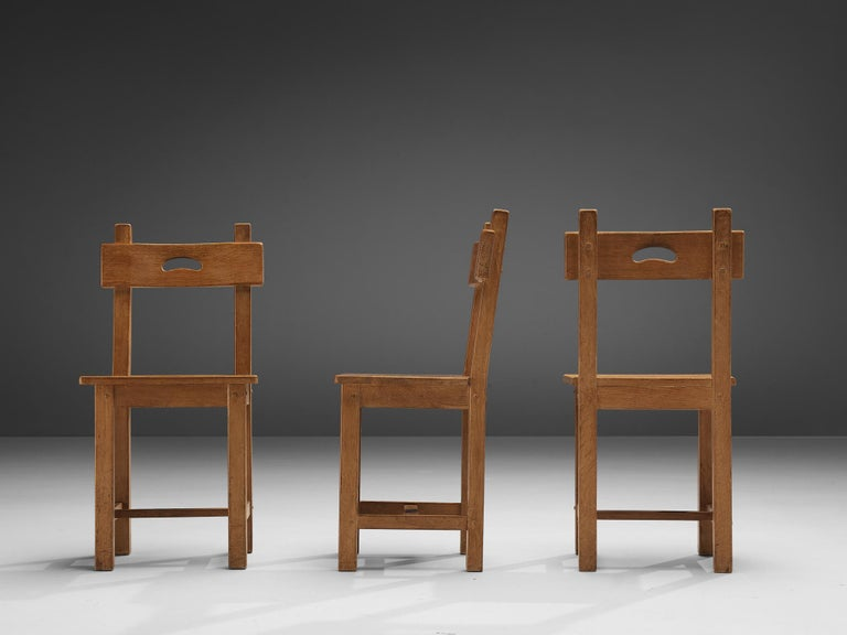 Set of Six Rustic French Dining Chairs in Oak For Sale 3