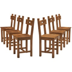 Set of Six Rustic French Dining Chairs in Oak