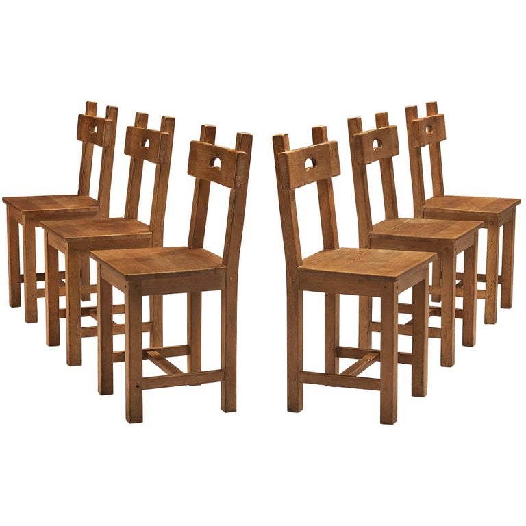 Set of Six Rustic French Dining Chairs in Oak For Sale