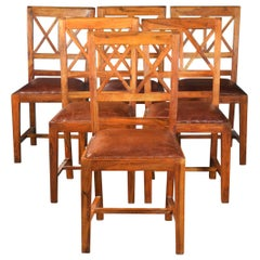 Set of Six Rustic Hardwood Dining Chairs