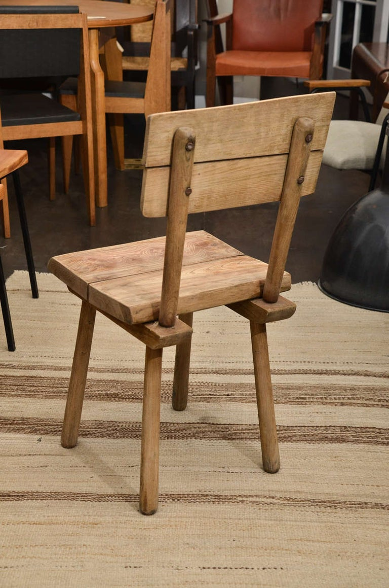 Pair of Vintage French Rustic Oak Dining Chairs For Sale 2