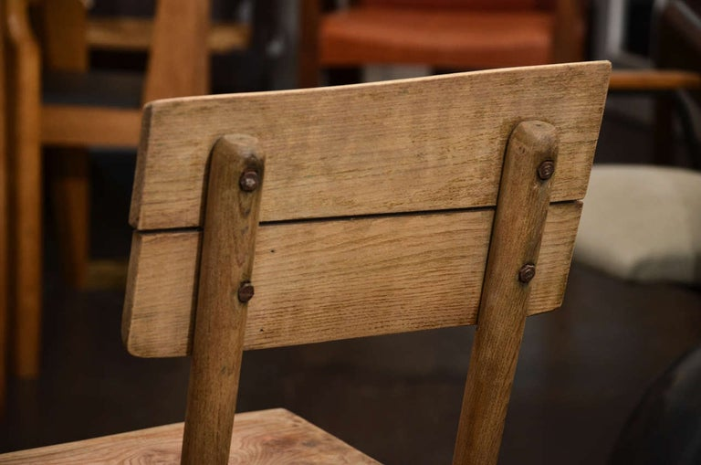 Pair of Vintage French Rustic Oak Dining Chairs For Sale 3