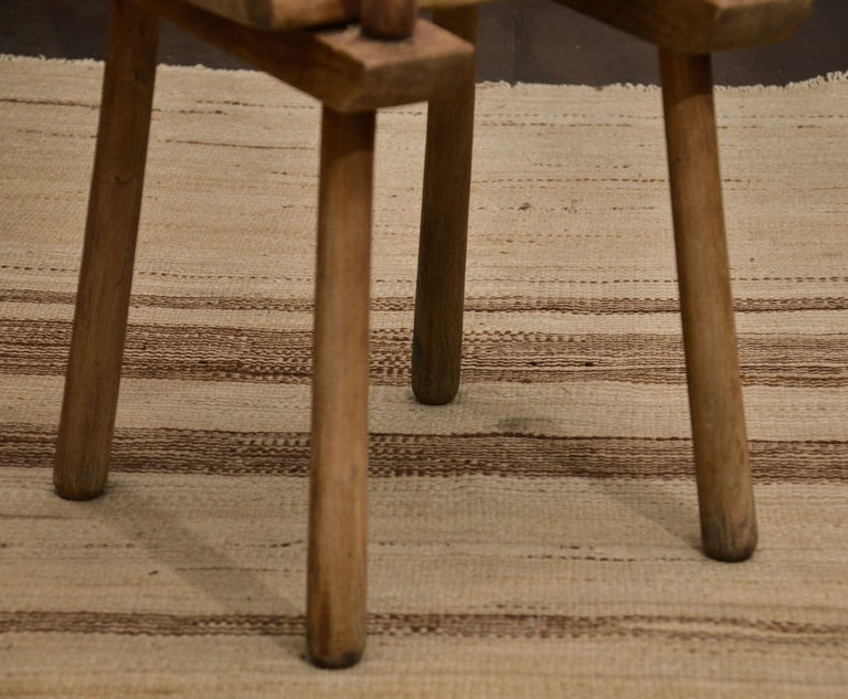 Pair of Vintage French Rustic Oak Dining Chairs For Sale 4