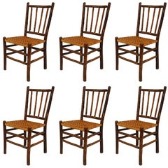 Set of 6 Rustic Old Hickory Rattan Side Chairs