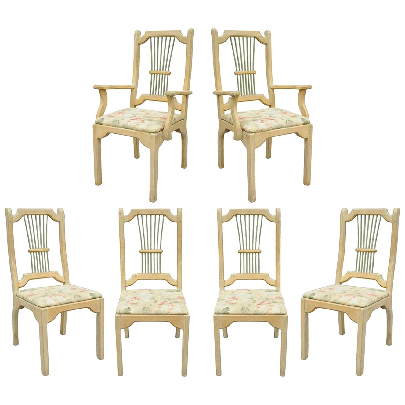 Set of Six Rustic Primitive French Country Wood Spindle Dining Chairs Cabin Vtg