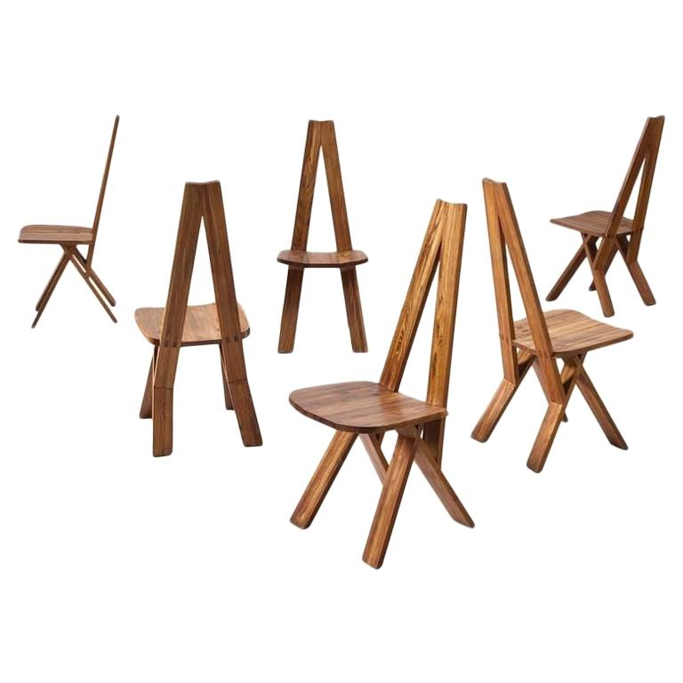 """Set of Six S45 """"Chlacc"""" Dining Chairs by Pierre Chapo"""