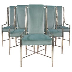 Set of Six Sage Green Velvet Mastercraft Imperial Dining Chairs