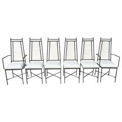 Set of Six Salterini High Back Iron Bronze Top White Cord Dining Chairs
